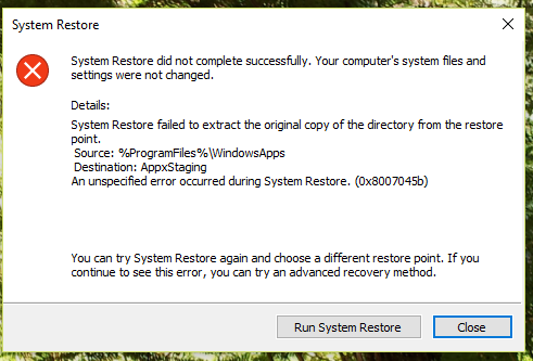 create recovery disk windows 10 fails