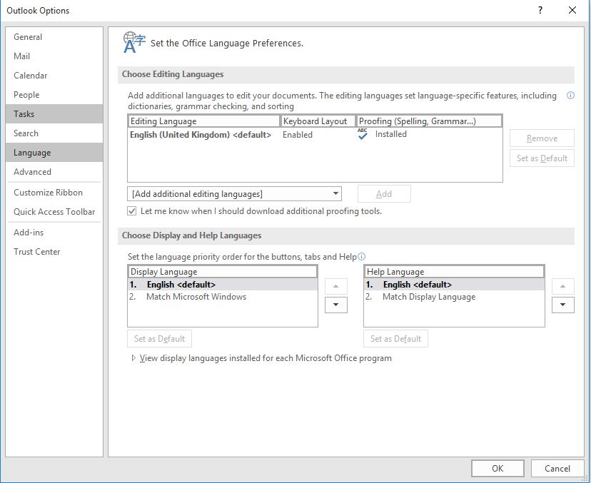 Outlook Professional Plus 2016 - Change