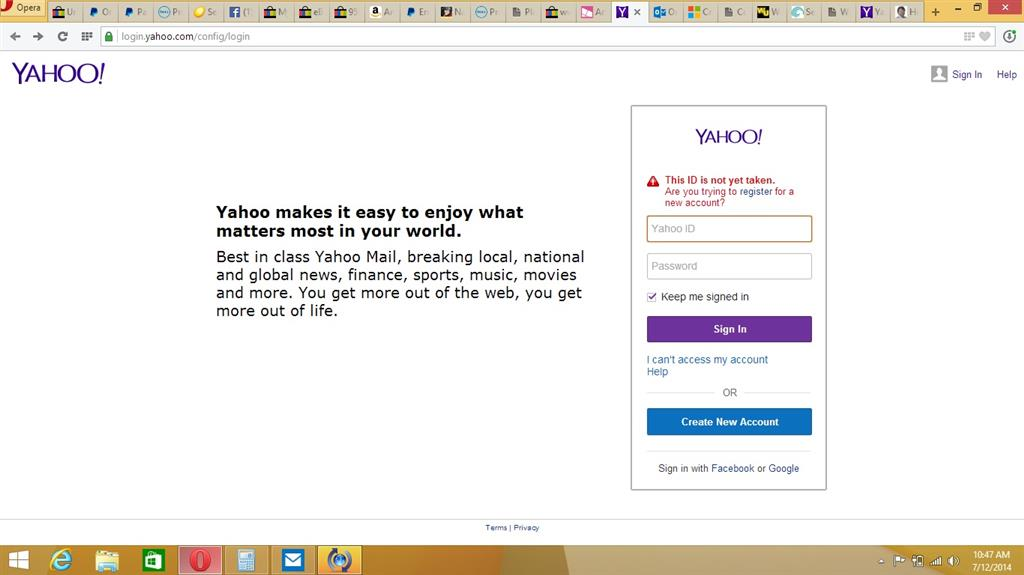 contact yahoo cant access my account