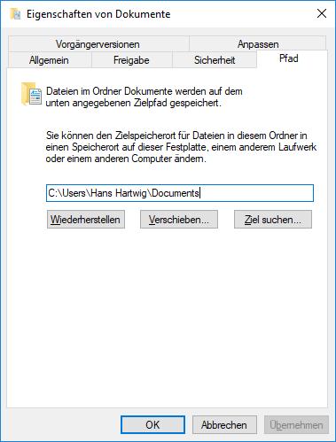 Windows 10: Systemordner Dokumente und Bilder untrennbar verbunden