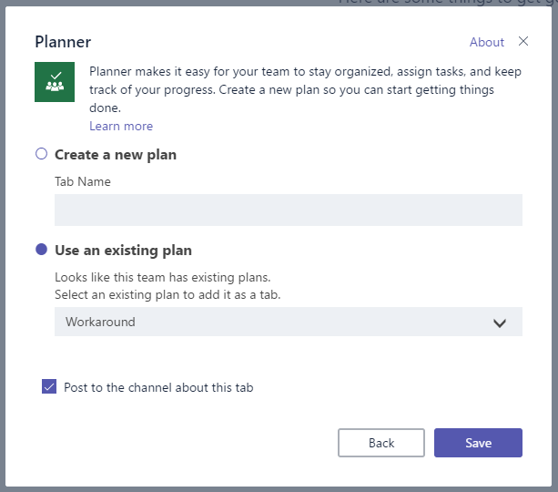 Adding An Existing Plan To Tab In A Team Channel