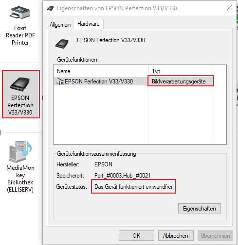 Epson Scanner funktioniert nicht unter Windows 10