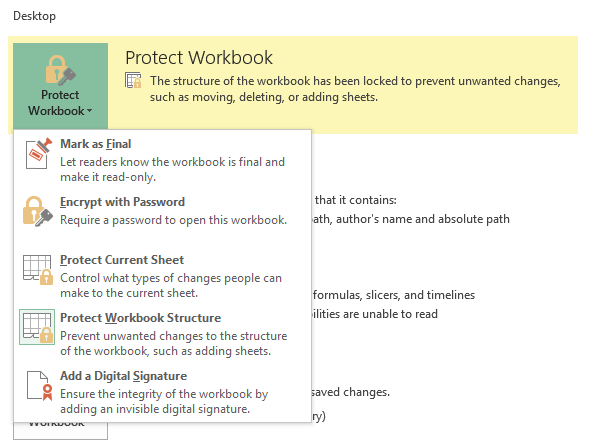 Excel 2016 Structure Protected Workbook already unprotected but still -  Microsoft Community