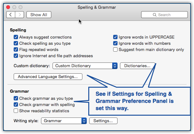 Office for Mac 2016: Spelling & Grammar dialog section of is
