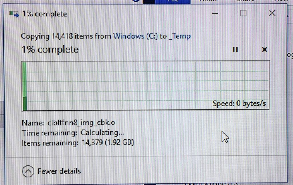 Copying files VERY slow, speed drops to zero, even on USB 3 -- no