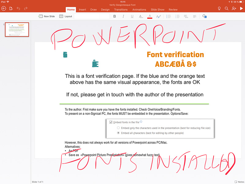 Powerpoint on iPad does not handle installed fonts correctly