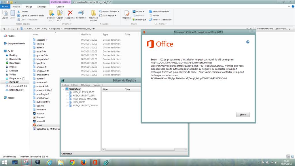 Erreur 1402 lors de l 39 installation de office 2010 ou - Installer office 2010 sur windows 8 1 ...