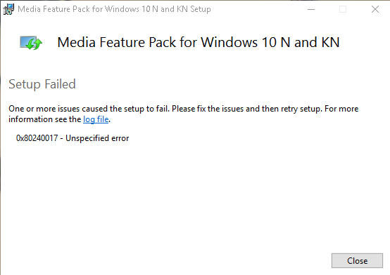 Media Feature Pack installed but not working/detected by windows