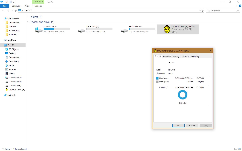 Unable to Erase RW DVD! - Microsoft Community