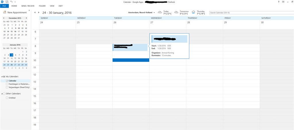 Hovering over an appointment shows the wrong date format