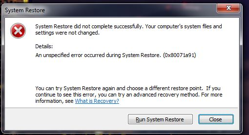 System Restore Unspecified Error Occurred during System