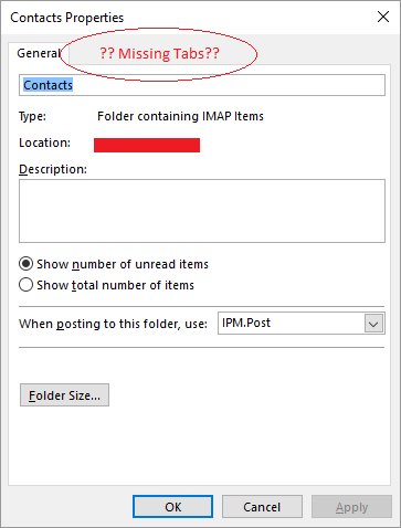 outlook 2016 unable to add contacts folder as an address book