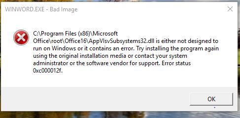 Error in opening Microsoft Office 365 2016 Pro Plus