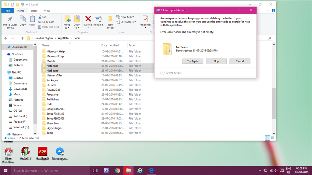Cant delete folders  Error 0x80070091: The directory is not