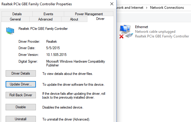 Ethernet Adapter Won't Recognize Ethernet Cable - Microsoft