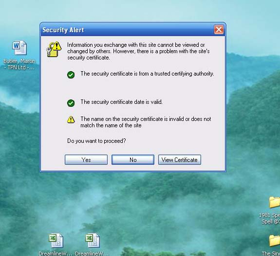 Certificate Error \'the name on the security certificate is invalid ...