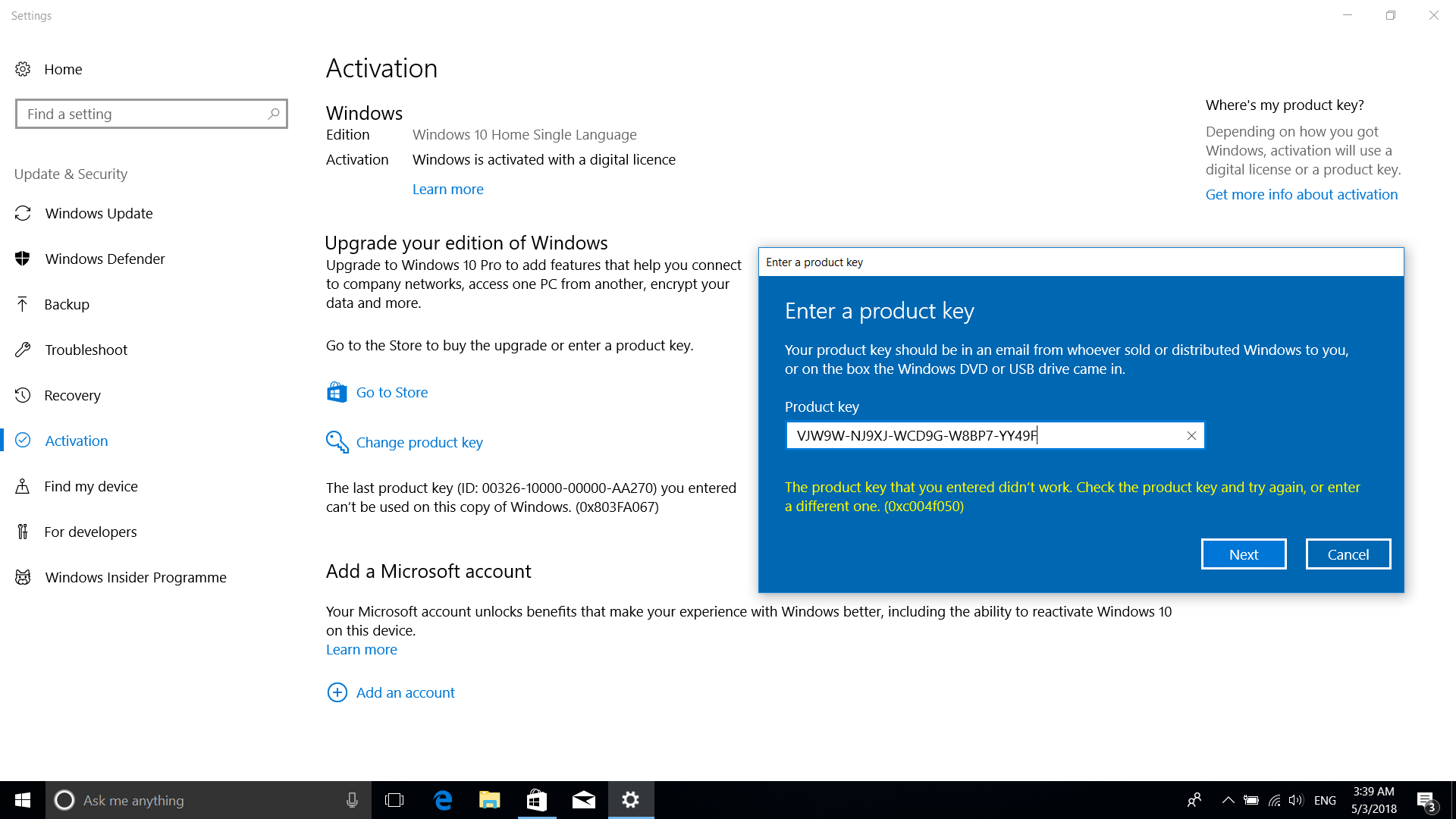 windows 10 home to pro product key not working