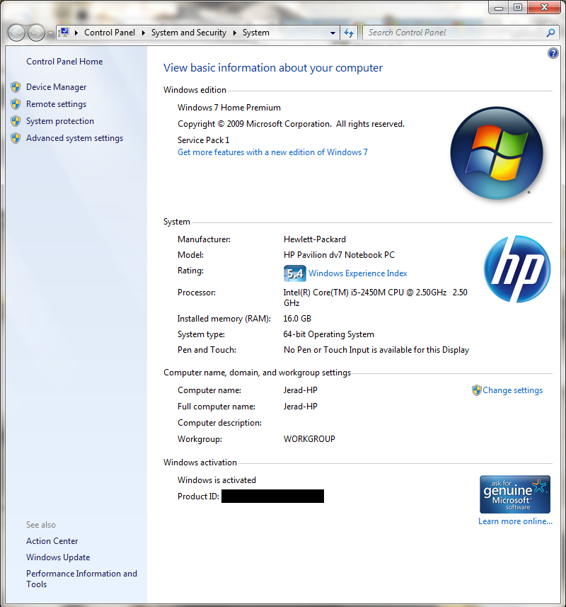 Windows 7 on my HP Laptop is claiming it's no longer genuine