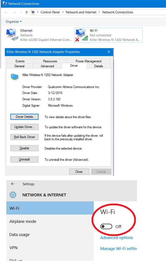 wireless network connection radio disabled