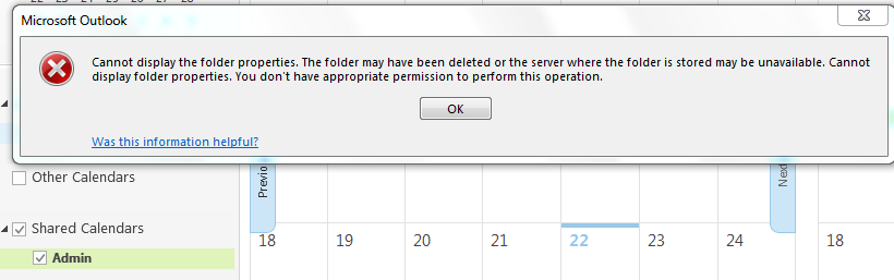 Problem using shared calendars in Outlook, works fine in OWA