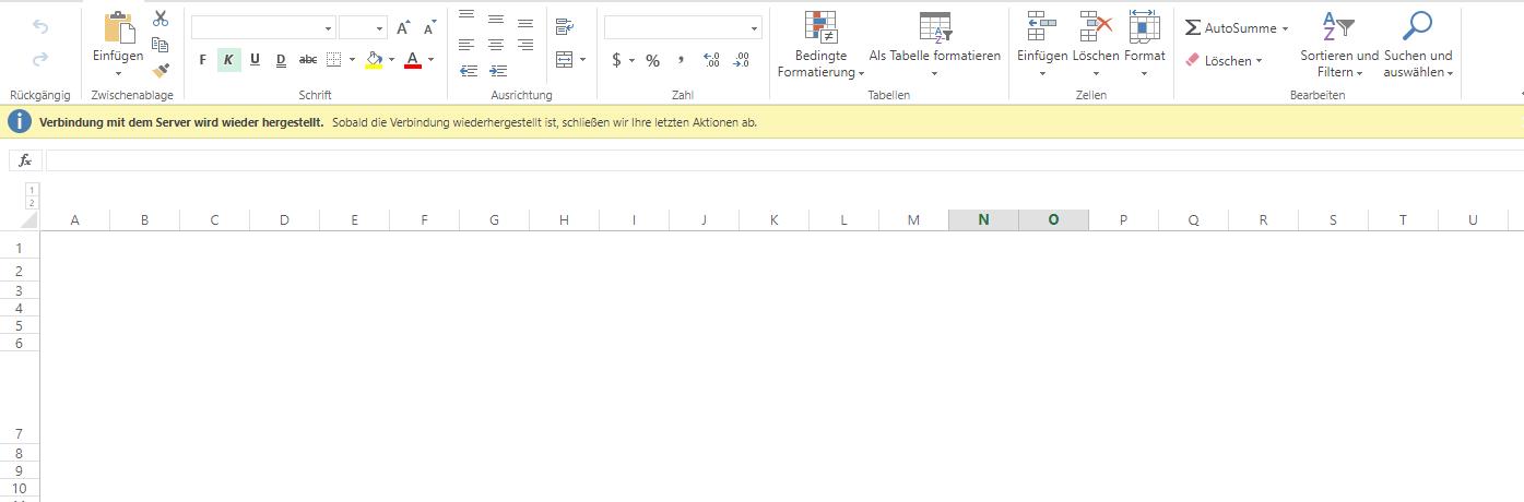 Excel Online Verbindung Zum Server Wird Wieder Hergestellt