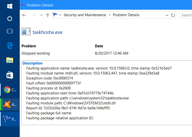 taskhostw.exe shows error every day in reliability monitor and other