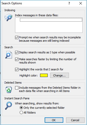 Outlook 2007 - Index Messages in these data files - Empty