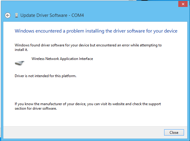 Can't install usb HSPA modem driver on windows 8 1 64bit