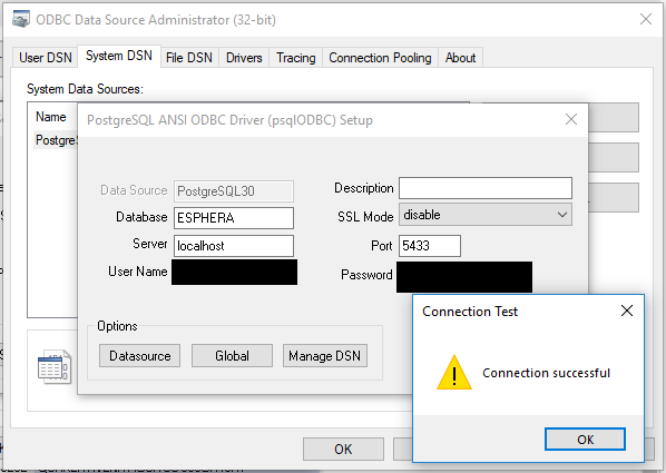 Connection Fail to a PostgreSQL Data Base from ODBC Driver