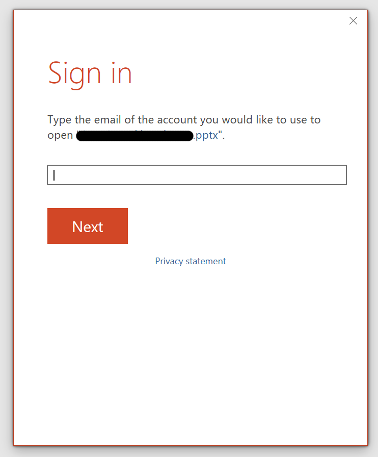 PowerPoint keeps asking for a password when file opened from