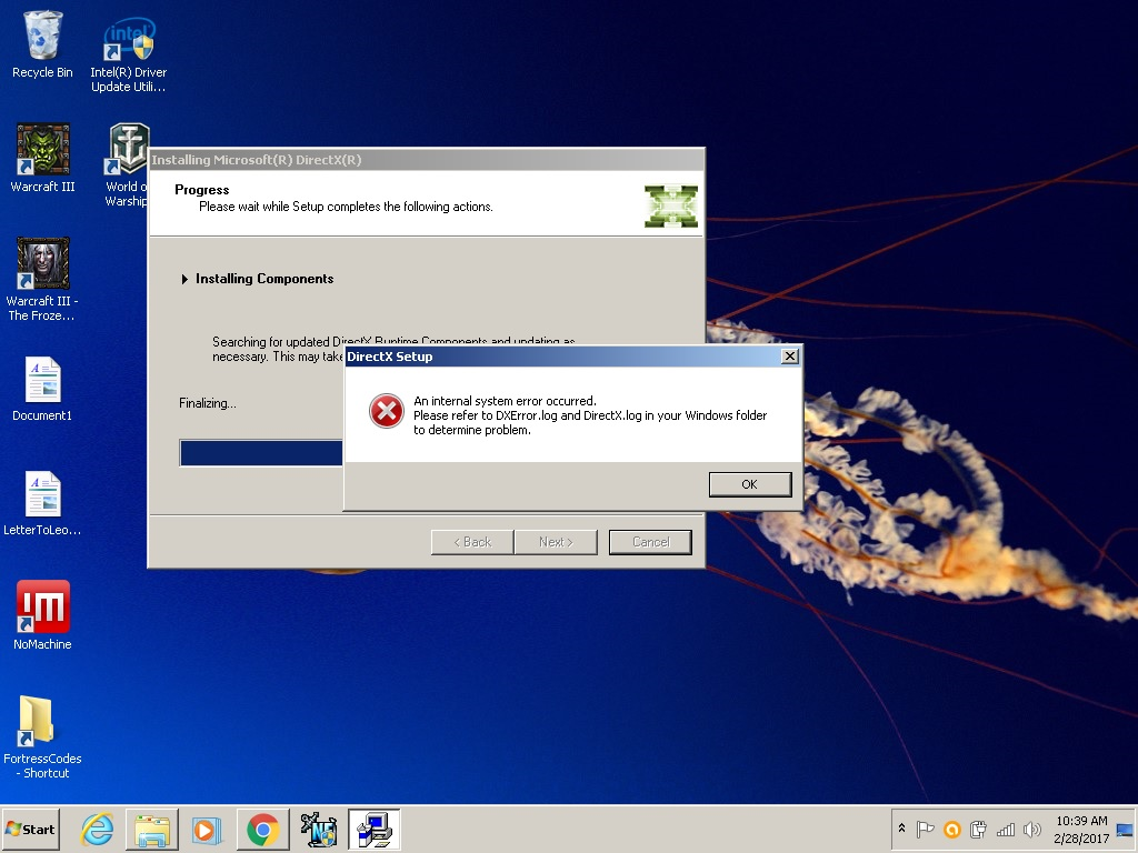 directx error in windows 10