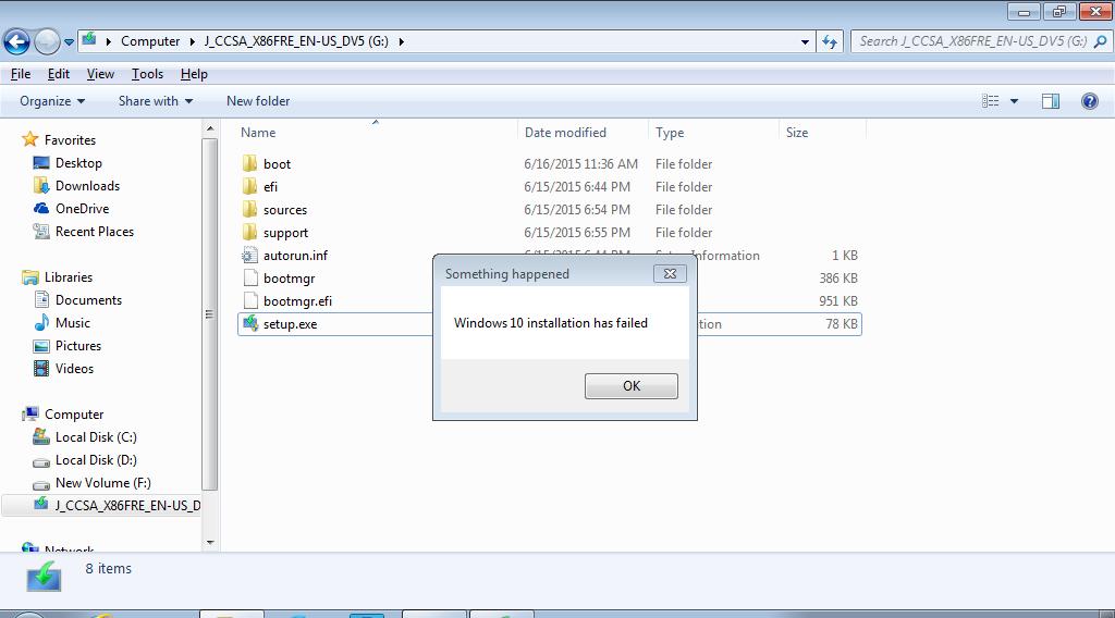 Windows 10 Installation Has Failed
