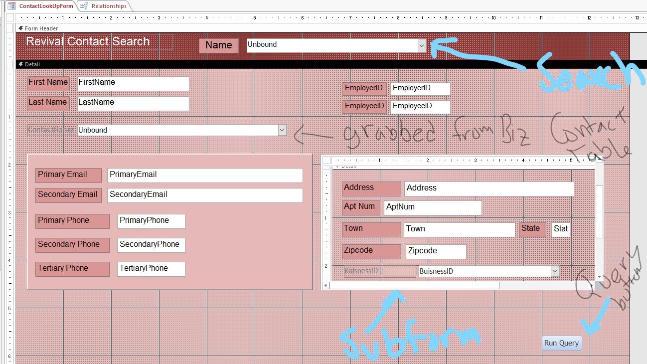 MS Access Forms, subforms, comboboxes, queries - Microsoft