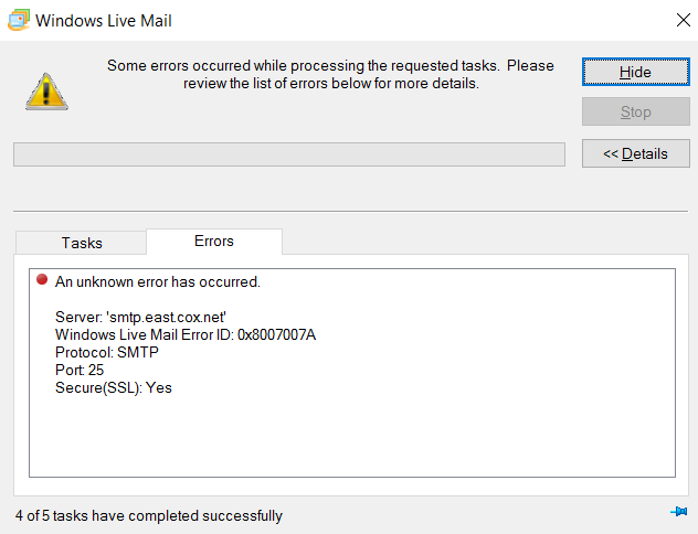 Windows Live Mail, Windows 10, Unable to Send Auto Resized