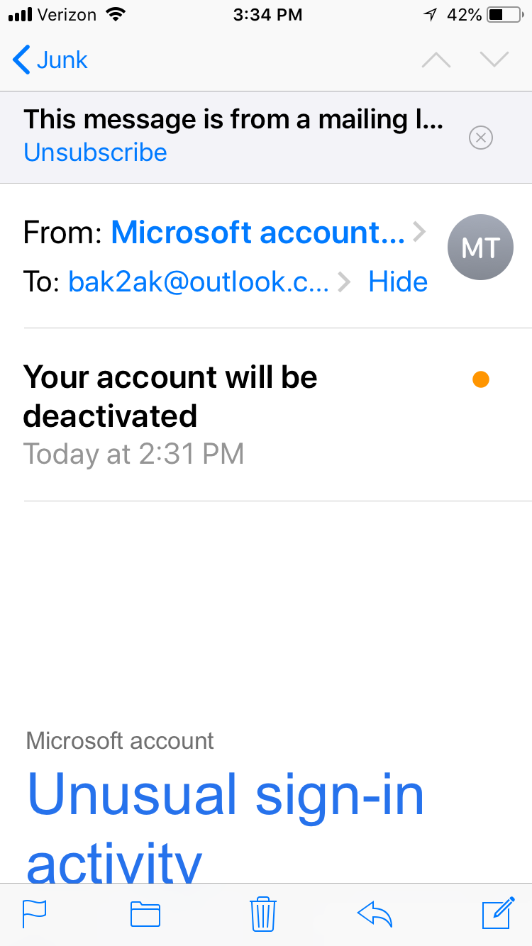 Spam and deactivation of accounts  Outlook mail and