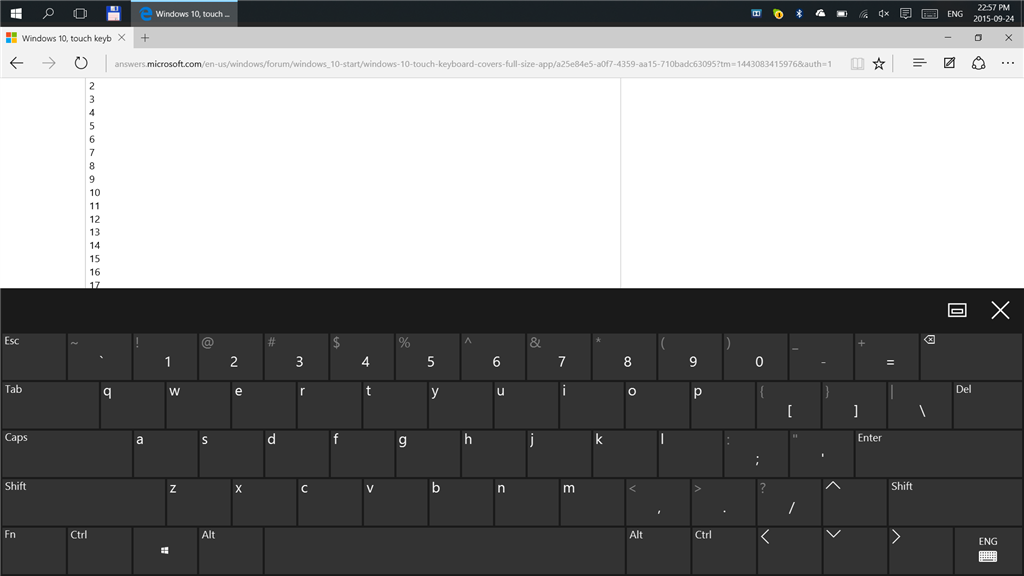 Windows 10, touch keyboard covers full size app window  - Microsoft