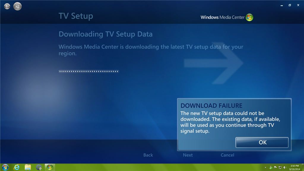 Is the Media Center Guide download service down? - Microsoft Community