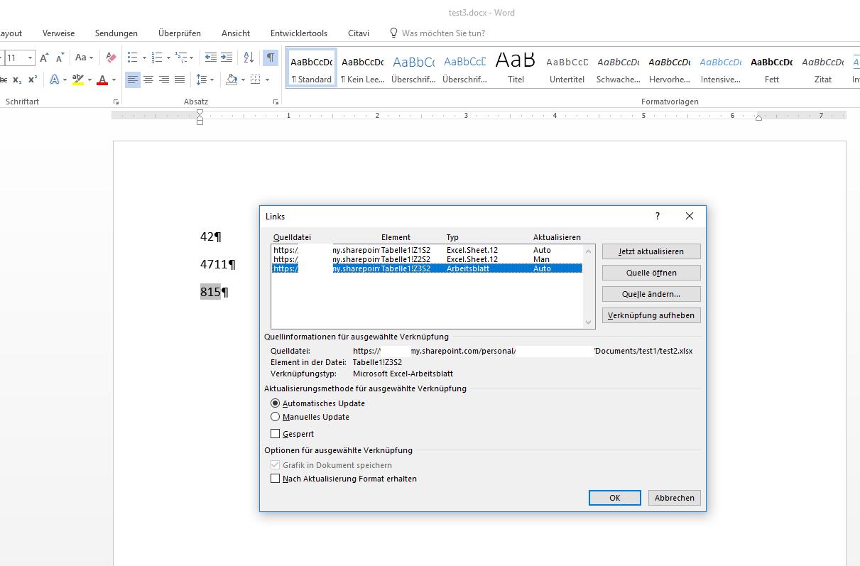 Verknüpfung in Word-Dokument auf Wert in Excel-Dokument auf ...