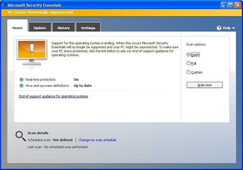 Microsoft Security Essentials 4 5 216 0 on Windows XP - At