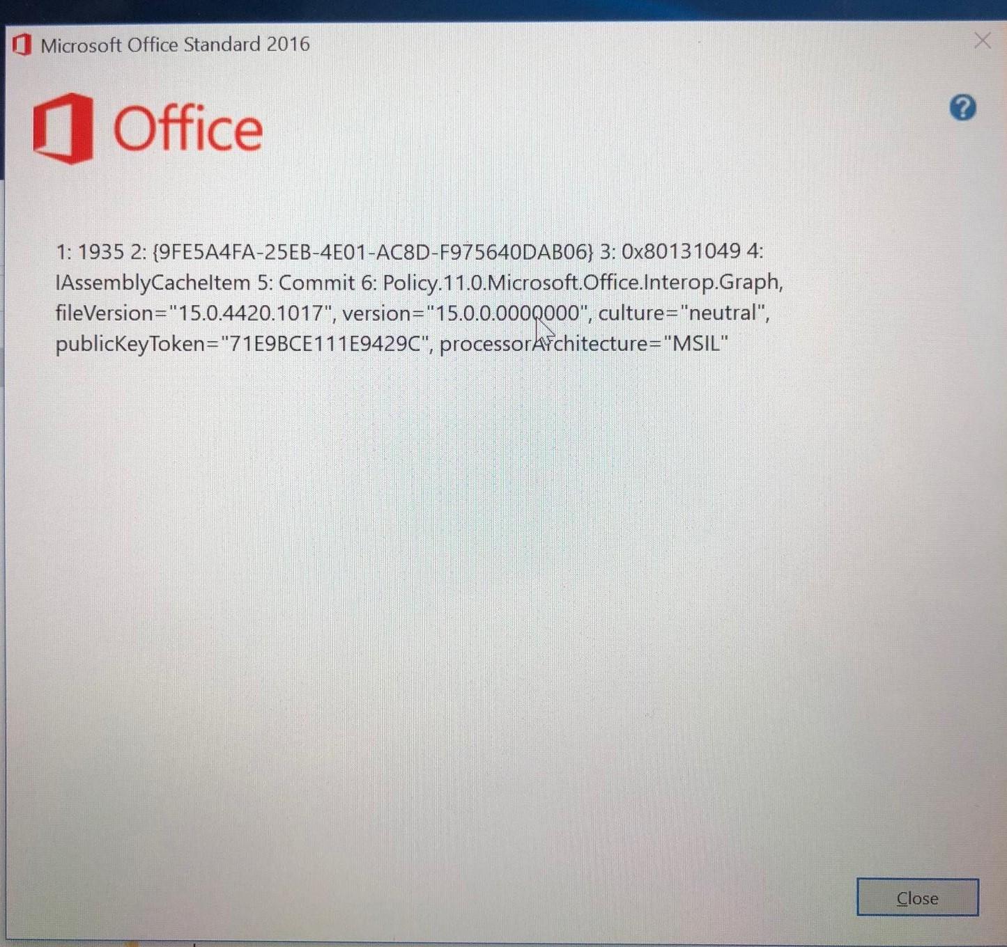 error 1935 office 2019 windows 10