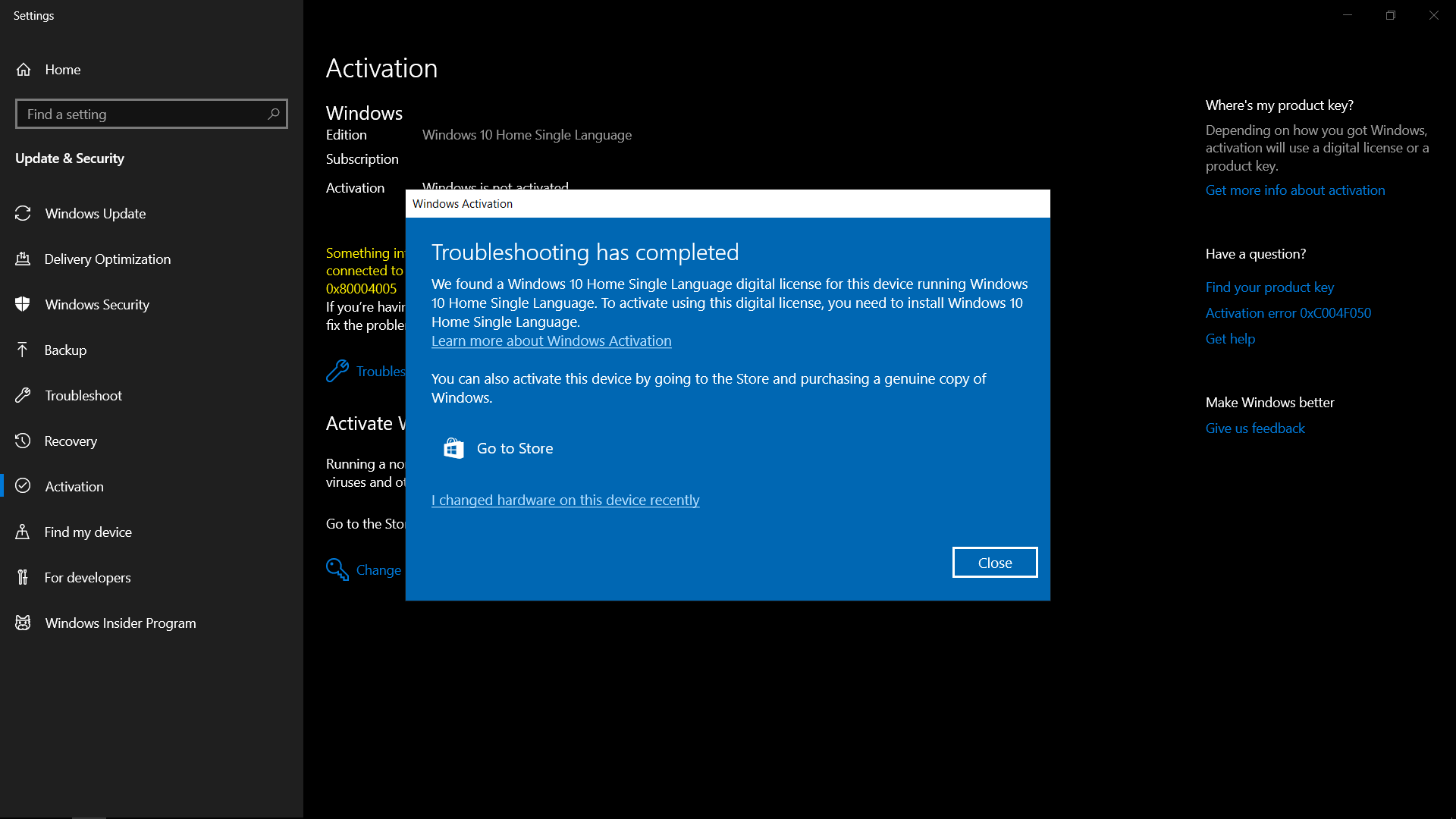 product key of windows 10 home single language