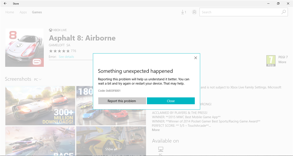 Can't install Asphalt 8  Error Code: 0x803F8001 - Microsoft