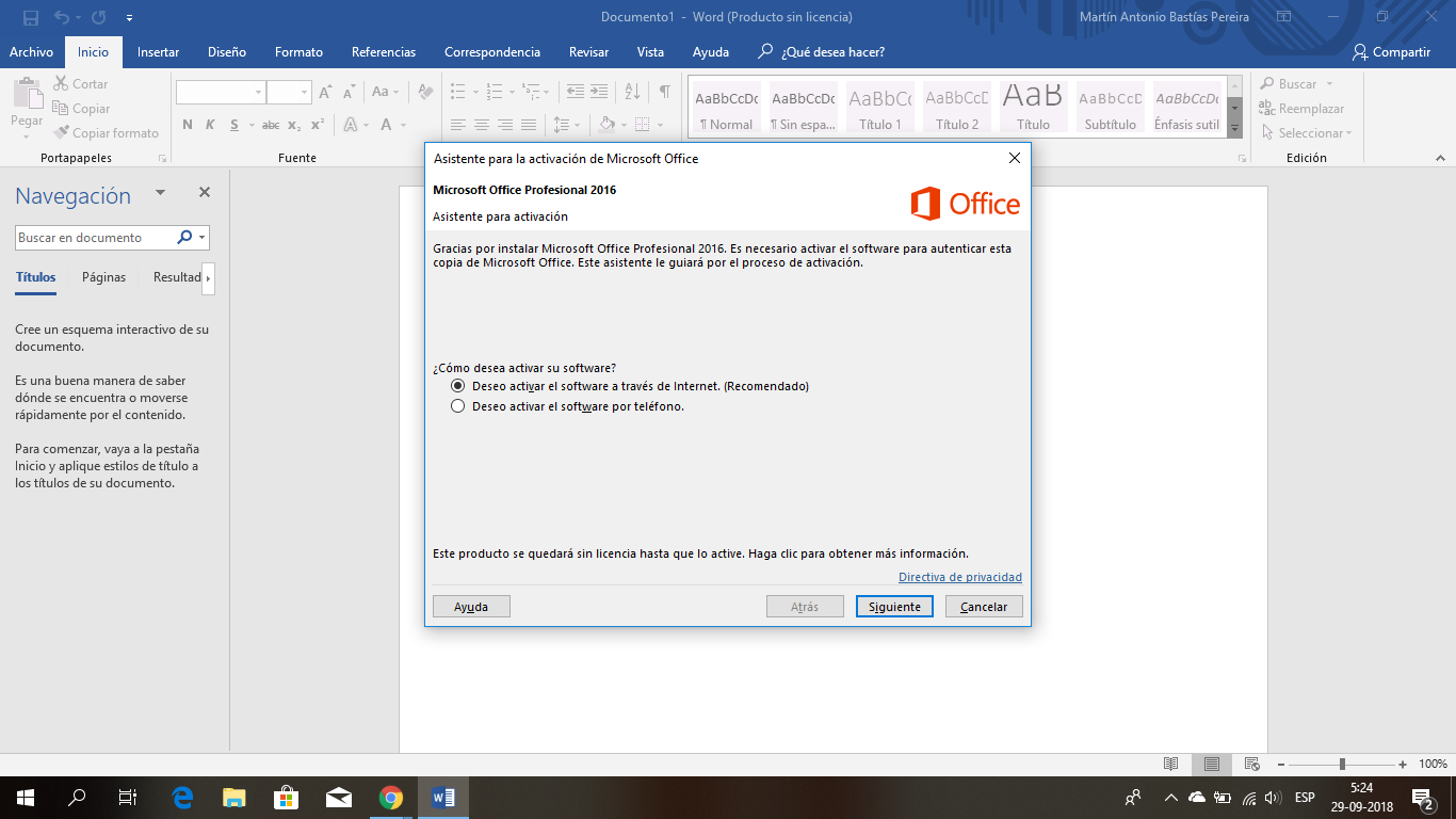 activacion de productos office 2016
