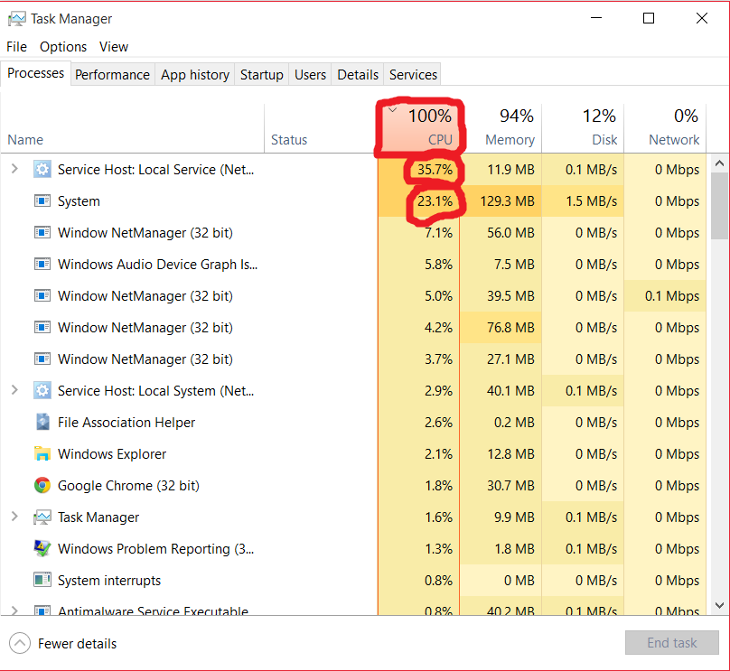 windows 10 update service high cpu usage