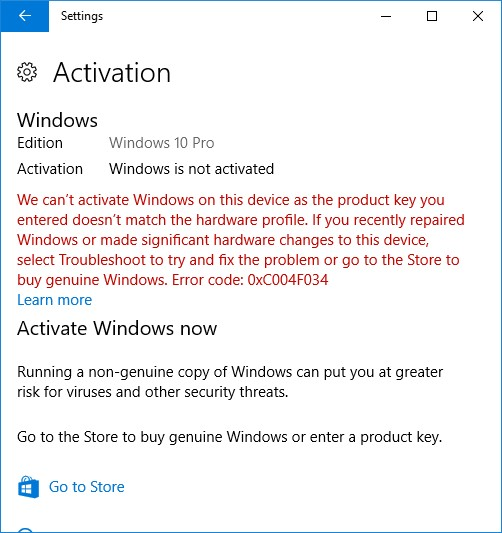 Activation failure after Windows 10 downgrade: Error code