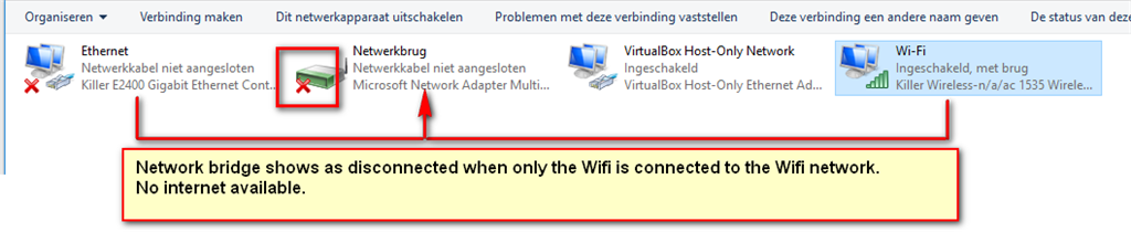 Microsoft Bridge adapter not working after update of Visual