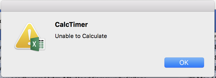 CalcTimer macro throws error - Unable to calculate - Excel