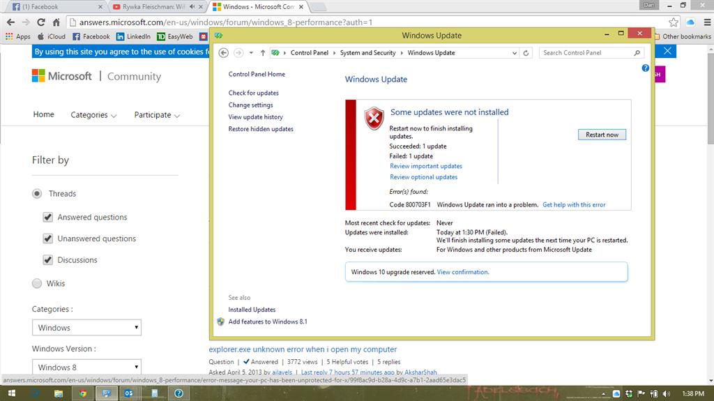 Help With Windows Updates  Error Code 800703f1