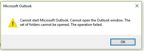 Cannot Open The Outlook Window >> Cannot Start Microsoft Outlook Cannot Open The Outlook Window