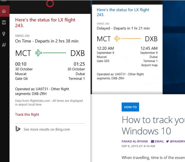 Cortana Flight Tracking - missing the